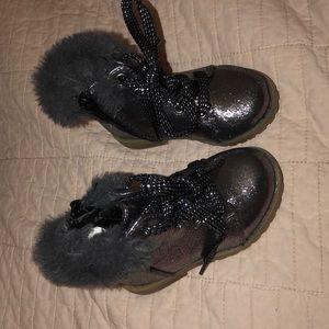 Baby girl metallic combat boots
